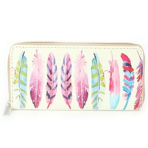 Handbags - Cream Vinyl Zipper Wallet - Colorful Feather Print
